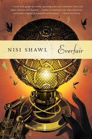 The cover of Everfair shows two hands reaching towards a metal gas lamp. One hand is black and the other is made of metal, like a steampunk cybernetic hand.