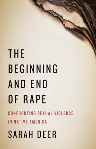 The cover of The Beginning and End of Rape makes the book appear to be a stack of yellowed paper that is burnt on the corner.