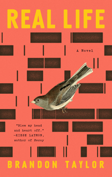 The cover of Real Life shows a bird on a red background with black rectangles.