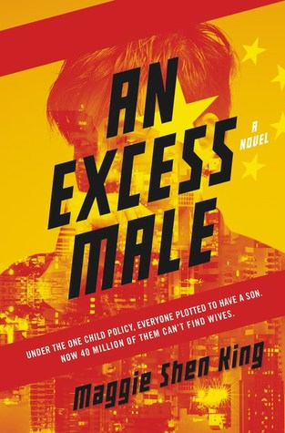 The cover of An Excess Male shows a man with his hand raised to his chin, looking concerned. He is faded into a yellow star and a city background.