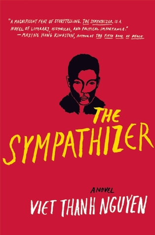 The cover of The Sympathizer is mostly read, with a small black image of a man's gaunt face hovering above the title.
