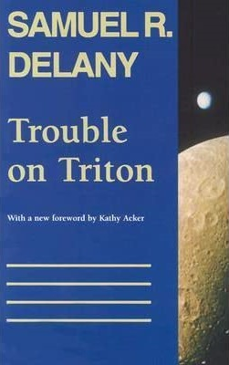 The cover of Trouble on Triton shows a moon rising over a planet seen from outer space.