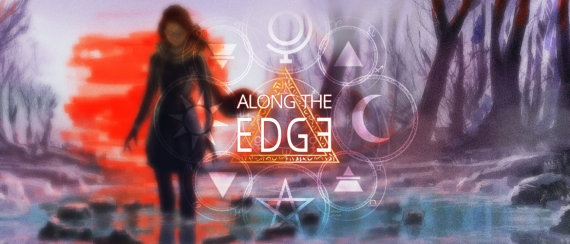The cover of Along the Edge shows Daphne standing in a pool of water gazing at her reflection.