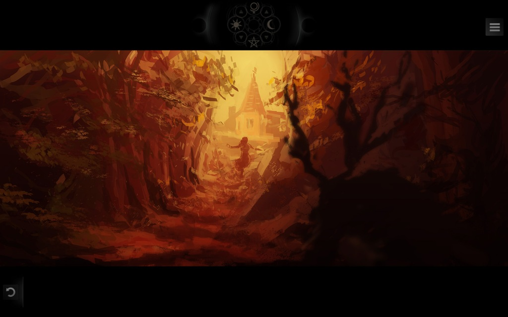 A screenshot from Along the Edge. Daphne emerges from the woods. In the shadow, a horned beast stalks her.