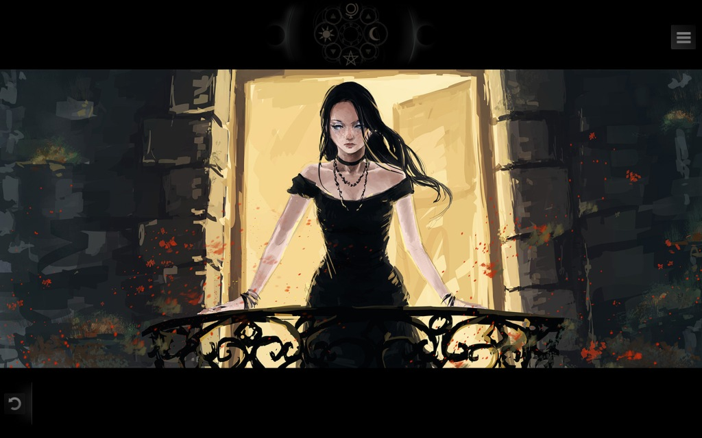 A screenshot from Along the Edge. Daphne, dressed in black with a stormy expression, stands on a balcony.