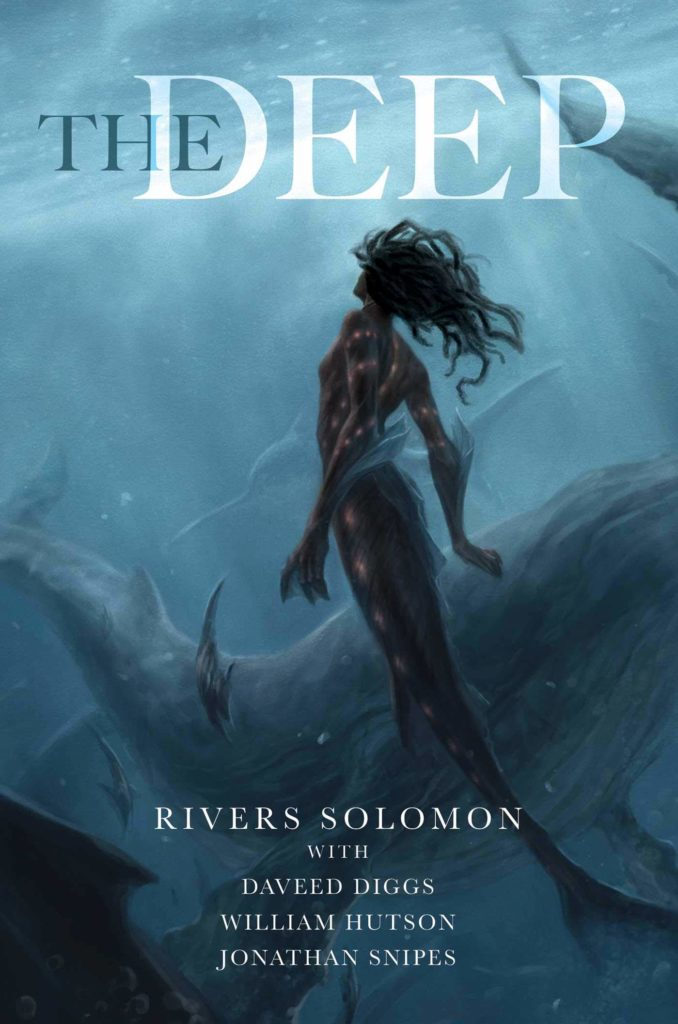 The cover of The Deep shows a black mermaid underwater. She is looking towards the light on the surface of the ocean.