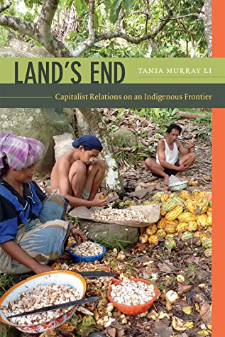The cover of Land's End is a photograph from Li's research. Three farmworkers crouch on the ground sorting cacao beans.