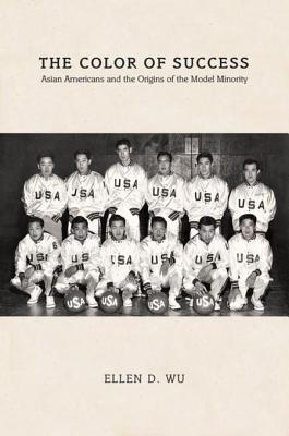 """The cover of The Color of Success shows a black and white photo of a basketball team made up entirely of Asian men. The men all wear white shirts with """"USA"""" on the front and have basketballs also labeled """"USA."""""""