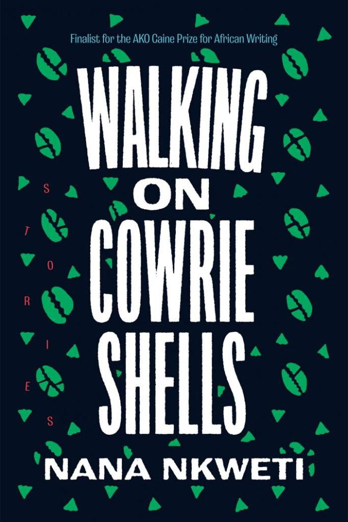 The cover of Walking on Cowrie Shells s shows the title in a rough white font on a black background. Green cowrie shells and triangles are scattered in the background.